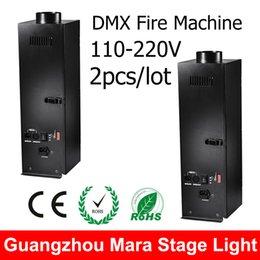 Wholesale Dmx Fire Machine - Wholesale-2PCS Lot Stage Flame Machine DMX Wire Control Spray Fire Machine Stage Dj Equipment