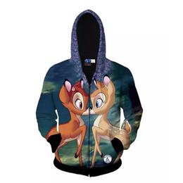 Wholesale Deer Thick Hoodie - 3d Animal Deer Pattern Zipper Hooded Harajuku Casual Sweatshirt Sport Suit Men's Tops Personalized Sportswear Hoodies Tracksuit Unisex