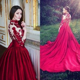 Wholesale christmas carpets - 2015 Luxury Elegant A-line Chapel Train Satin Evening Dresses with Lace Appliques Sheer Covered Button Back Long Sleeves Christmas Dresses