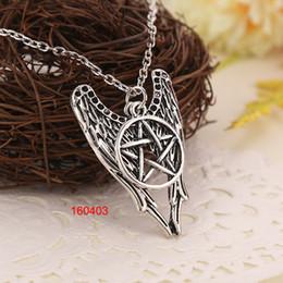 Wholesale Devil Necklaces - Castiel Supernatural Wings Necklace Ancient Silver Devil Trap Pentagram Pendants for Women Fashion Jewelry Gift 160403