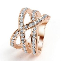 Wholesale Austria Crystal Ring Rose Gold - Fashionable Austria Crystal Rose Gold Ring Punk Crossing Shape Plated Gold With Full Shining Diamond Free Shipping Various Size