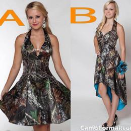 Wholesale Tea Length Halter White Dresses - 2016 New Fashion Camo Short Bridesmaid Dresses Halter A Line Short Hi Lo Backless Plus Size Cheap Wedding Party Dress BO8268
