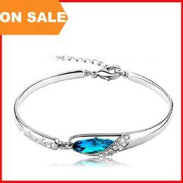 Wholesale Glass Slipper Jewelry - Fashion Crystal bracelet women blue glass slipper charm bangle cuff hand dress luxury jewelry Christmas gift 160181