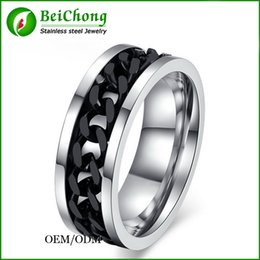 Wholesale 14k gold men ring band - BC Jewelry Fashion Spinner Chain Ring For Men Gold & Black & Silver Stainless Steel Chain Wholesale Mens Jewelry BC-0069