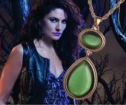 Wholesale Double Ended Charms - alloy Witches Of East End Gourd Imitation jade Emerald Teardrop necklace Double gem red agate pendant green opal Gourd necklace girl x104