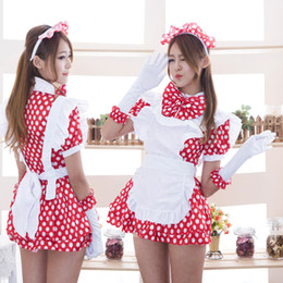 Wholesale Maid Uniform Cosplay - Wholesale-The New Japanese-style Dress Maid Cosplay Maid Outfit Kawaii Anime Uniforms Costumes White Dots Bow Decoration
