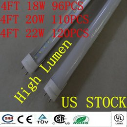 Wholesale T8 High Lumen Led Tubes - Include free gift CE ROHS FCC + 4ft 1200mm T8 Led Tube Lights High Super Bright 18W 20W 22W high lumen Led Fluorescent Bulbs AC85-277V