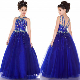 Wholesale Girl S Halter Pageant Dress - custom made sparkly royal blue girl`s pageant dresses with Beaded bodice rich layers skirt dress criss-cross strappy back A line formal gown