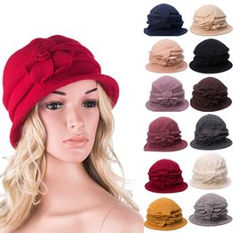 Wholesale Fitted Winter Dresses - Gatsby 1920s Ladies Retro Flower Winter Warm Fedora Wool Cap Cloche Bucket Church Dress Hat A222