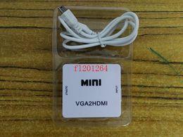 hd laptop Sconti Spedizione gratuita 1080P HD Video VGA2HDMI convertitore di alta qualità MINI Audio VGA a HDMI HD HDTV Video Converter Adapter per PC Laptop DVD