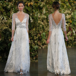 Wholesale Wedding Dress Princess Open Back - 2017 Gothic Silver Lace Wedding Dresses A-line Plunging V-neck Open Low Back Beaded Belt Sheer 3 4 Long Sleeves Floor-length Bridal Gowns