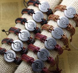 Wholesale Tai Chi Charms - Fashion Yin Yang tai chi Handmade Cheap Price Wholesale Leather Braided Bracelets and Bangles mens bracelets women jewelry