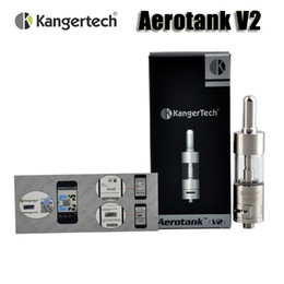 Verre kanger aerotank à vendre-Authentic atomiseur Kanger Aerotank V2 commande Kangertech Airflow Upgraded double Bobines 2.5ml Pyrex Verre Réservoir pour 510 fil batterie mod