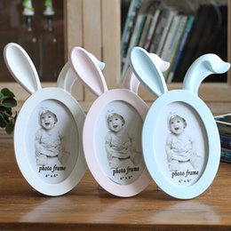 Wholesale Cute Picture Frames - 6inch Cute Creative Baby Photo frame DIY Resin Wall Picture Album Wall Frame Cat Rabbit Ears Frames Home Decor Bridal Baby Shower Favor Gift