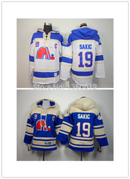 Wholesale Cheap Hooded - 2016, 2015 Free Shipp.Quebec Nordique Cheap Ice Hockey Jersey Hoodie 19 Joe Saki Ice Hockey Hoodies  Hooded Sweatshirt