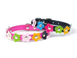 Wholesale Leather Studded Collars - 1pcs Hot Sweet Flower Studded Puppy Pet Dog Cat Collar Leather Buckle Neck Strap Collar