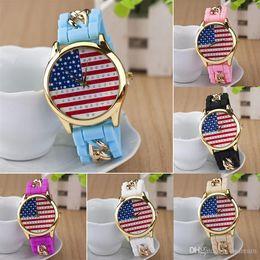 Wholesale Cheap Plastic Watches For Men - cheap Fashion Crystal silicone strap quartz wristwatch pin buckle American flag design bracelet wrist watches for women men 2015 230047