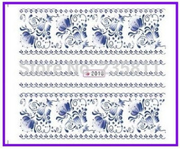 Wholesale Decal Nail China - Wholesale-1X Nail Art Water Transfers Stickers Nail Decals Stickers Water Decal China Blue Flower SY2018