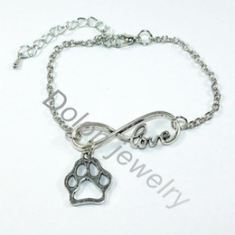 Wholesale Cheap Loves Bracelet - Wholesale-Infinity 8 Love Charm Dangle With Dog Cat Paw Print Pendant Chain Bracelet Cheap Fashion Pet Jewelry