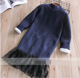Wholesale Girls Lace Sweater Long Sleeves - Winter New Baby Girls Dresses High neck Sweater Hem lace long sleeve Dress Children Clothing 2-8T 320084