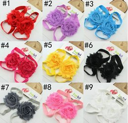 Wholesale Kids Shoe Covers - Fashion baby sandals chiffon flower shoes cover barefoot foot flower ties infant children girl kids first walker shoes