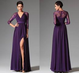 Wholesale Elie Wedding - Cheap Purple Prom Dresse 2015 Spring Summer A-line V Neck Evening Dresses Lace Elie Prom Dresses Wedding Party Dresses Evening Gowns