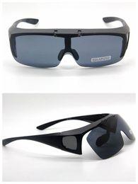 Wholesale Clip Flip Up Glasses - Wholesale-POLARIZED LENS Clip On Flip Up Style Sunglass FIT OVER GLASSES Matte Black Frame