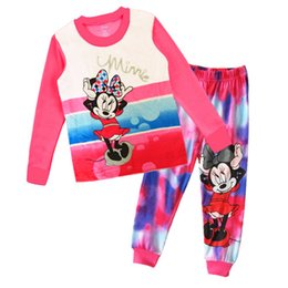 Wholesale Snoopy Suit - 2015 Hot sale baby boys girls cotton cartoon pajamas outfits long sleeve mickey snoopy t-shirt + cartoon pant suits 300pcs lot