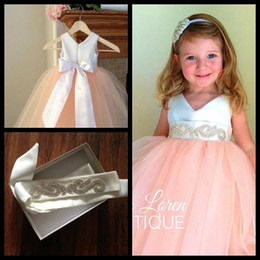 Wholesale Mini Wedding Dresses Detachable - 2015 Pretty Peach Pink V Neck Satin and Tulle Flower Girl Dresses Detachable Sash Toddler Tutu Dresses For Wedding Party With Beads