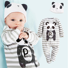 Wholesale Toddlers One Piece Hooded Rompers - Panda Baby Rompers Caps Boys Clothing Set Toddler Hat One-Pieces Suits Overall With Foots Grey Stripe Long Sleeve Pajamas