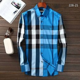 Wholesale Mens Slim Fit Long Sleeves - 2017 Brand Men's Business Casual shirt mens long sleeve striped slim fit camisa masculina social male shirts new fashion shirt #1989