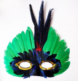 Wholesale Mardi Gras Feathers Wholesale - DIY Party feather mask fashion sexy women lady Halloween MARDI GRAS carnival colorful chicken feather Venice masks Festive Supplies