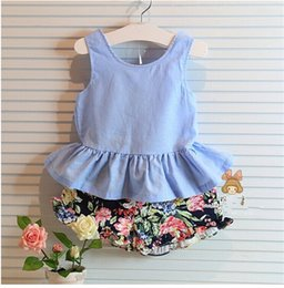 Wholesale Bow Top Suit - HOT new fashion 2015 summer children suit girl set bow tops +Floral pants girl fashion clothing YA46