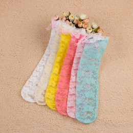 Wholesale Girls Lace Long Socks - Baby Socks Children's Knee Long Socks 2015 New Summer Korean Fashion Lace Girls Princess Bow Cotton School Socks Dance Socks MC-385
