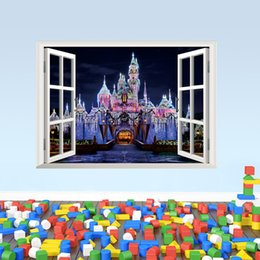 Wholesale Exotic Home Decor - Exotic Beach View 3D Window Decal Castle WALL STICKER Home Decor Art Wallpaper Mural