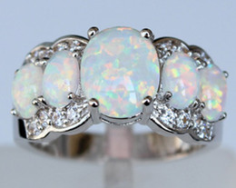 Wholesale Jewelry Blue Stone Rings - Charming Blue   Pink   White Fire Opal Cluster Ring Jewelry for Lady USA SIZE 7 8 9