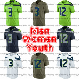 Wholesale Purple Vapors - Cheap Men's Women's Youth American Football #3 Jersey Navy White Green Olive #12 Salute To Service Vapor Limited American Football Jerseys