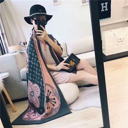 Wholesale Thread Scarves - 2017 autumn and winter new female wool silk silver thread blended fabric comfortable warm and warm two sides high fashion women's best choic