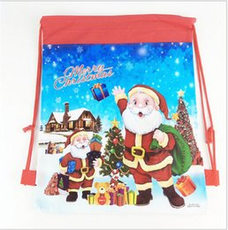 Wholesale Wholesale Toys For Party Bags - Santa Claus Drawstring Bags 36x28cm Non Woven Double Printed Sling Bag Kids Toy Storage Bags Schoolbag Gift for Girls Party Birthday HOT