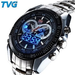 Wholesale Multiple Time Zone Watches - Brand TVG Stainless Steel Luxury Men's Clock Fashion Blue Binary Sports LED Watch Wristwatches 30AM Waterproof Watches KM-468 Drop Shipping
