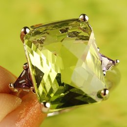 Wholesale Emerald Cut Amethyst Ring - Green Astonishing Emerald Shape Cut Citrine Amethyst & Amethyst zircon Silver Ring