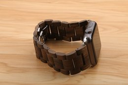 Wholesale Steel Butterfly Bracelets - New Ebony Wood Link Bracelet Stainless Steel Butterfly Clasp Wooden Natural Wrist Watch Strap With Adapters For Apple Watch Band iWatch 42MM