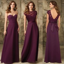 Wholesale Ladies Pink Chiffon Tops - Chic Grape Sheath Chiffon Long Bridesmaids Dresses Backless Cheap Bridesmaid Gowns 2 styles top Maid of honor lady Wedding Prom Party Dress