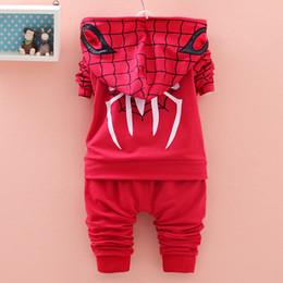 Wholesale Boys Suit Size Red - Baby Boy Spiderman Suit Size 12M-4T Kids Clothing Set Sports Clothes Sweater Set Jacket + Tshirt+Pants 3pcs Set Blue Red Color