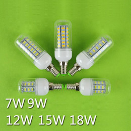 Wholesale E27 Led Bulb 9w Lumen - LED Light Ultra bright E27 LED Bulbs 7W 9W 12W 15W 18W 3000 Lumen SMD 5730 With Cover 56 leds E26 GU10 E14 B22 G9 Led Corn lights By Express