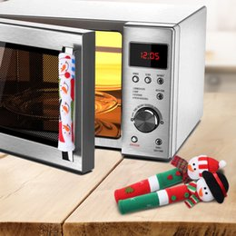Wholesale Kitchen Christmas Ornaments Wholesale - Christmas Refrigerator Door Ornaments Fridge Knob Decoration Microwave Oven Snowman Kitchen Appliance Handle Covers Wholesale Free Shipping