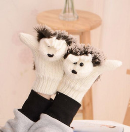 Wholesale Organic Cotton Gloves - Hot Sale Autumn Winter Gloves Women Mittens Cute Lovely Cartoon Knitted Hedgehog Glove Novelty Knitted Finger Hedgehog Gloves 9 Colors