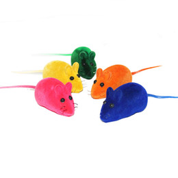 Wholesale fur mice - Cat Toy Realistic Fur Mice Mouse Cat Toys Squeak Squeaker Rubber Toys Pack of 4 ,Color May Varies