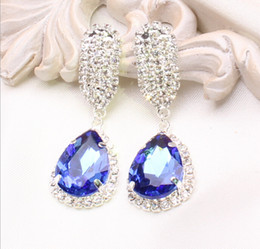 Wholesale Cheap Silver Rings Sale - Hot Sale!! Cheap 2016 New Arrival Clear Blue red Green Beaded crystals Bridal earrings for wedding Jewelry sets Accessories Wholesale 3pcs 1