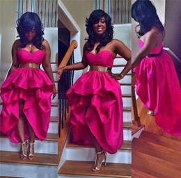 Heißes rosa hallo kleid online-Hot Pink High Low Prom Kleider 2015 Party Abendkleider Fuchsia Schatz Kurze Vestido De Festa Tee Länge Hallo-Lo Günstige Party Kleider